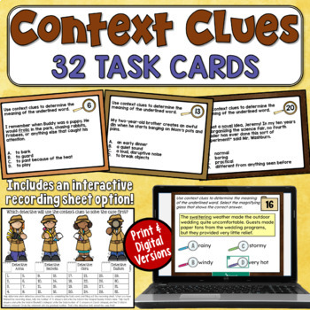 Context Clues Task Cards (4th, 5th, and 6th grade)