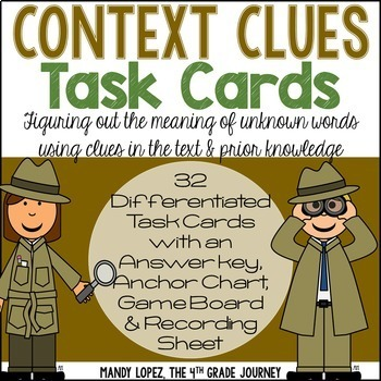 Context Clues Task Cards: 32 DIFFERENTIATED Task Cards + Game Boards & More!