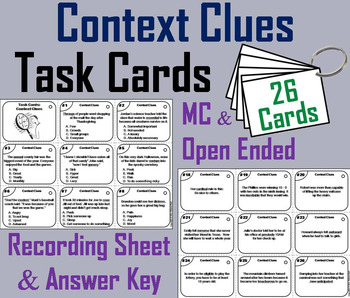 Context Clues Task Cards 3rd, 4th, 5th, 6th Grade Vocabulary Practice