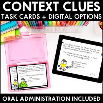 Context Clues Task Cards with Digital BOOM Cards Option