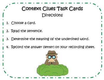 Context Clues Task Cards Activity