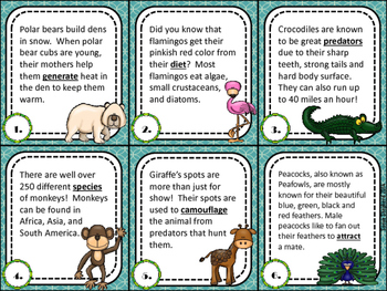 Context Clues Task Cards - Animal Themed