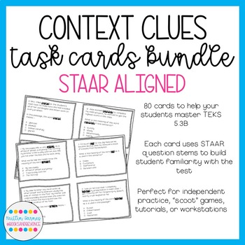 Context Clues Task Cards BUNDLE (STAAR Aligned; TEKS 4.2B and 5.2B)