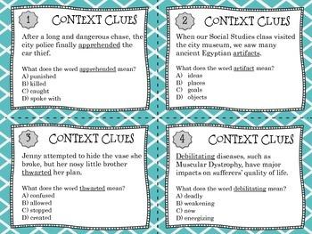 Context Clues Vocabulary Task Cards {Set #1}