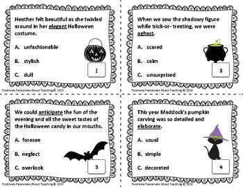 Context Clues Task Cards - Halloween (Common Core and TEK Aligned)