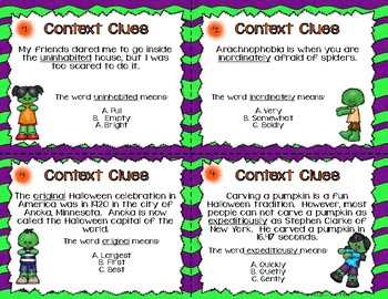 Context Clues Task Cards - Halloween Theme