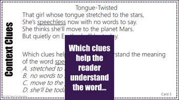 Context Clues Task Cards: Poetry