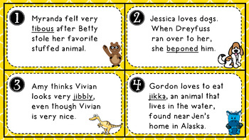 Context Clues Task Cards - SCOOT - Content Area Words and Nonsense Words