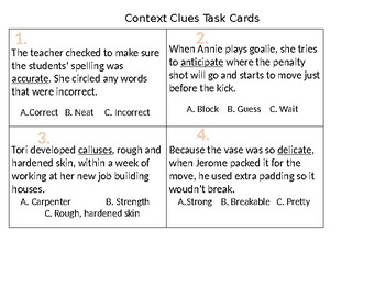 Context Clues Task Cards (Sample)