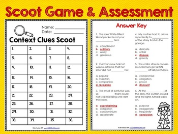 Context Clues Scoot 2 ~ 36 Task Cards for Grades 2-4 Tier 2 Vocabulary Builder