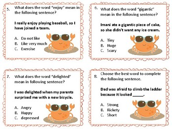 Context Clues Task Cards Set 1