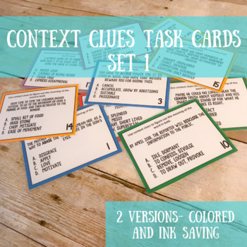 Context Clues Task Cards Set #1