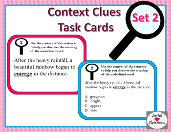 Context Clues Task Cards Set 2
