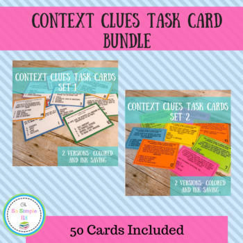 Context Clues Task Cards (Sets 1 and 2)