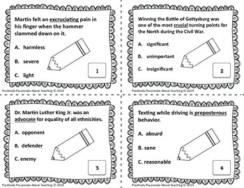 Context Clues Task Cards (Upper Level): Common Core and TEK Aligned