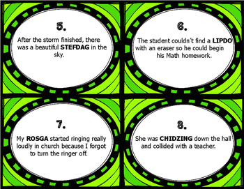 Context Clues Task Cards - Using Nonsense Words