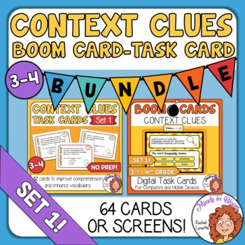 Context Clues Task Cards and Digital Boom Cards Bundle: Set 1 Grades 3/4