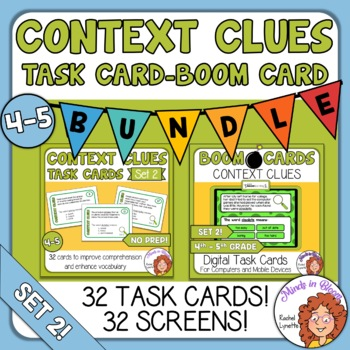 photo regarding Clue Cards Printable called Context Clues Undertaking Playing cards and Electronic Increase Playing cards Offer: Mounted 2 Grades 4/5