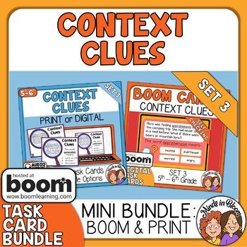 Context Clues Task Cards and Digital Boom Cards Bundle: Set 3 Grades 5/6