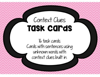 Context Clues Task Cards and Recording Sheet