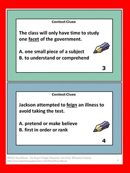 Context Clues Activities Task Cards