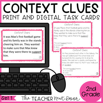 Context Clues Task Cards for 2nd Grade Set 1
