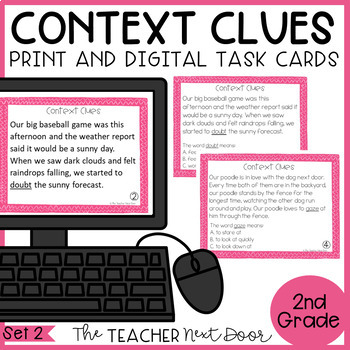 Context Clues Task Cards for 2nd Grade Set 2