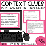 Context Clues Task Cards for 2nd Grade Set 2 Print and Digital Distance Learning