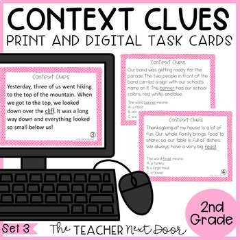 Context Clues Task Cards for 2nd Grade Set 3
