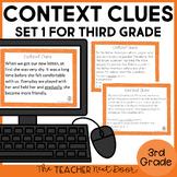 Context Clues Task Cards for 3rd Grade Set 1 | Context Clues Center