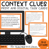 Context Clues Task Cards for 3rd Grade Set 1 Print and Dig