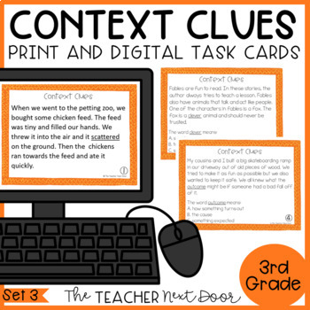 Context Clues Task Cards for 3rd Grade Set 3