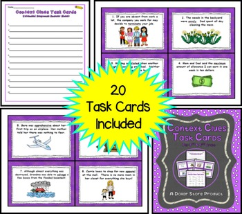 Context Clues Task Cards for 3rd and 4th Grade
