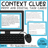 Context Clues Task Cards for 5th Grade Set 1 Print and Dig