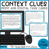 Context Clues Task Cards for 5th Grade Set 2 Print and Dig