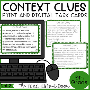 Context Clues Task Cards for 6th Grade Set 2 | Context Clues Center