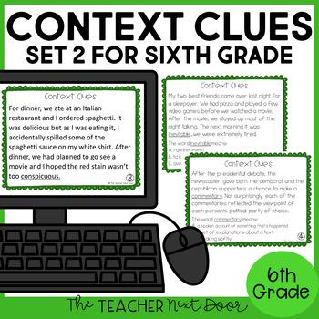Context Clues Task Cards for 6th Grade Set 2 | Context Clues Center