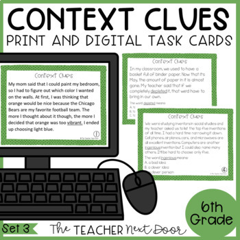 Context Clues Task Cards for 6th Grade Set 3