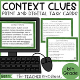 Context Clues Task Cards for 6th Grade Set 1 Print and Dig