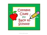 Context Clues Task Cards for Back to School and Common Core