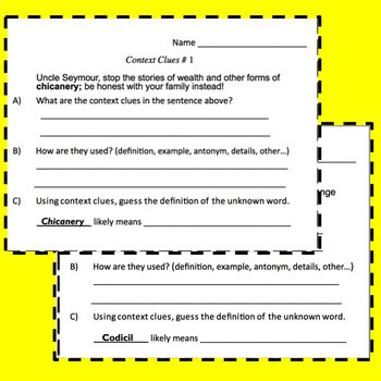 Context Clues Task Cards for High School and Middle School