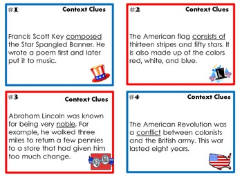 Context Clues Task Cards for President's Day or July Patriotic America