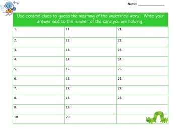 Context Clues Task Cards for Spring, Easter, St. Patrick's Day, Common Core
