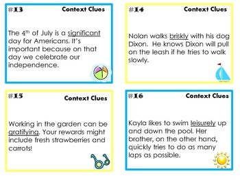 Context Clues Task Cards for Summer, Common Core
