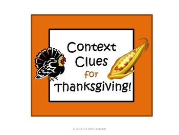 Context Clues Task Cards for Thanksgiving, Common Core