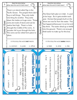 Context Clues Task Cards sample pack