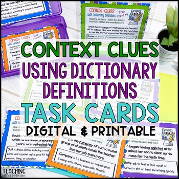 Context Clues Dictionary Task Cards