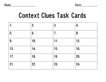 Context Clues Task Cards with STAAR Vocabulary
