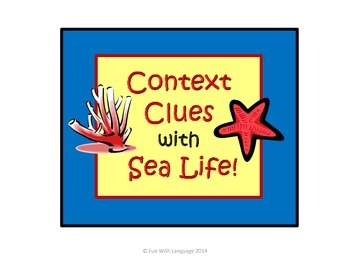 Context Clues Task Cards with Sea Life, Ocean Creatures, for Common Core