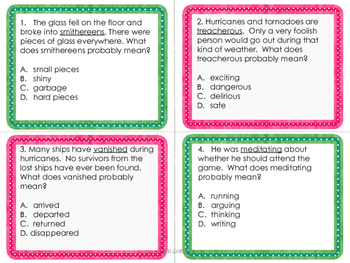 Context Clues Task Cards-with and without QR codes
